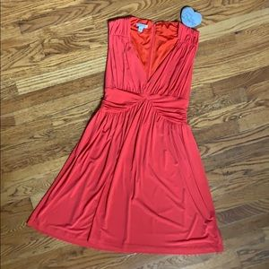 Boston Proper Orange v neck dress